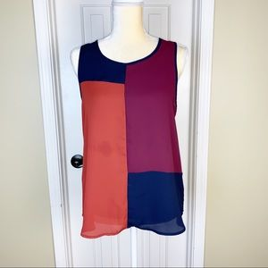 Monteau Patchwork Sheer Sleeveless Blouse Size L